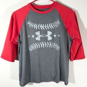 Under Armour Baseball Themed Athletic Shirt Size L